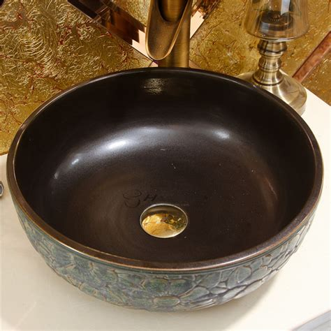 bronze flower enamel  vintage bathroom vessel sink