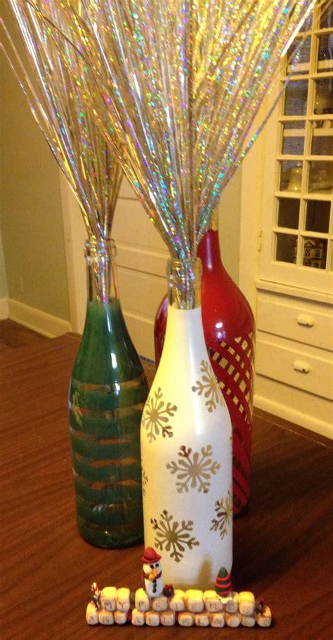 christmas painted wine bottles christmas wine bottles
