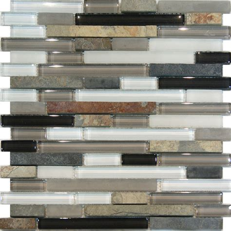 slate tile kitchen backsplash 1sf slate glass gray white linear mosaic tile