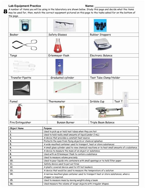 lab equipment worksheet answer key  lab equipment