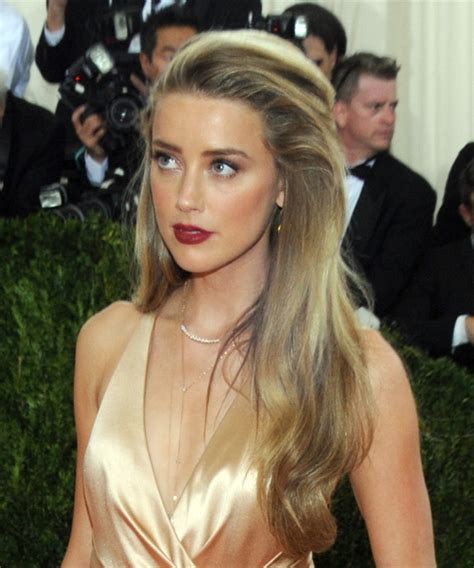 amber heard long straight formal hairstyle dark golden