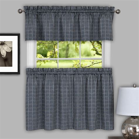sydney plaid decorative gray kitchen window curtain tiers