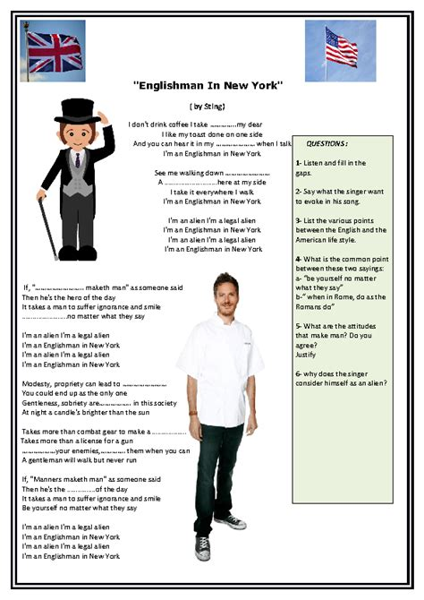 song worksheet an english man in new york by sting