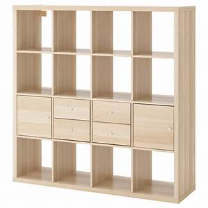 kallax shelving unit with 4 inserts white stained oak With parquet flottant ikea