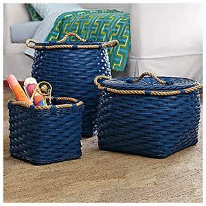 Serena & Lily Rope Basket   Small Cubby   Cobalt   Buy