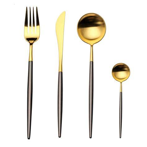 flatware stainless piece steel gold amazon morgiana