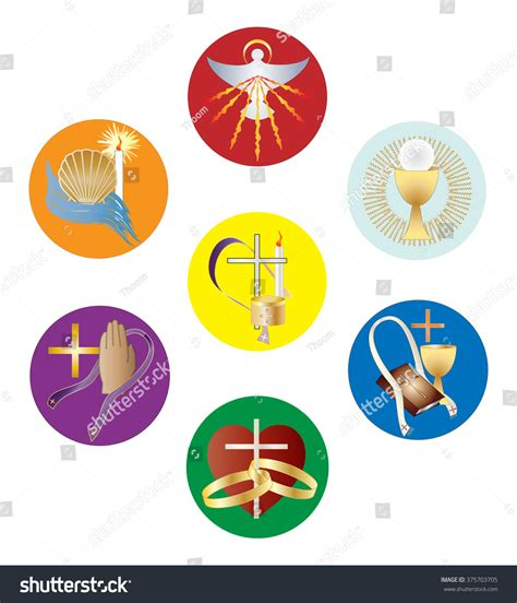symbols  sacraments catholic church color stock