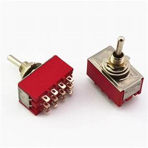 10pcs 4pdt Mini Toggle Switch On