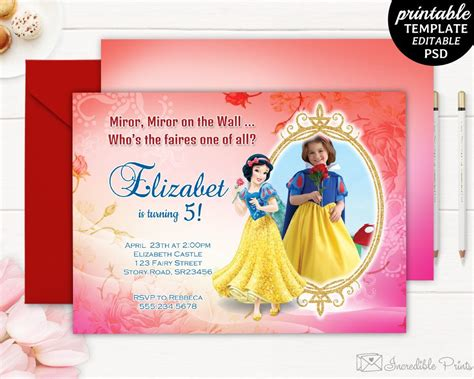 5th birthday invitation card template snow white birthday invitation template snow white
