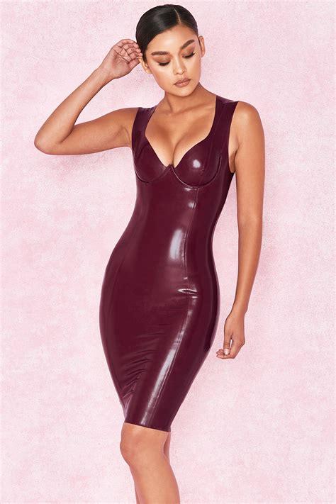 clothing bodycon dresses christalina plum latex cut