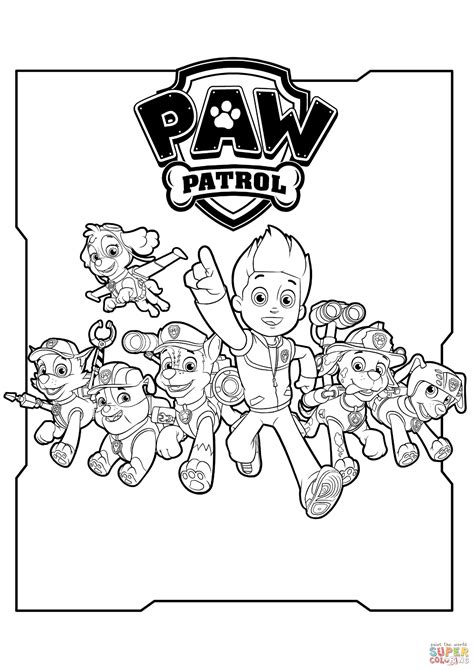 paw patrol characters coloring page  printable