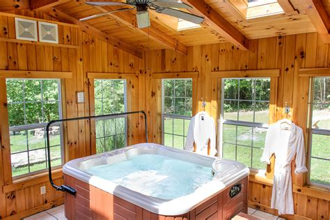 Indoor Tub by Ashby Cabins Hocking Cottages And Cabins