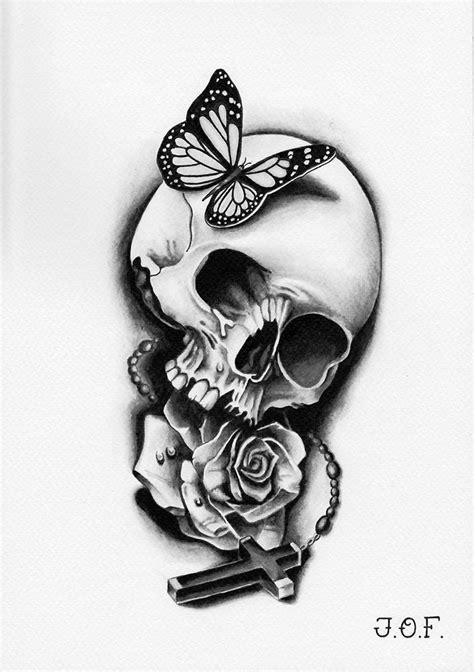 grayscale butterfly skull rose cross   tattoo flash pinterest tattoo flash
