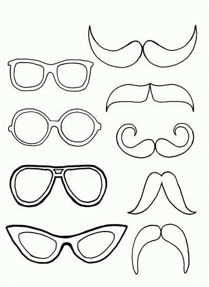 Coloring Pages Mustache Eyeglasses Pair Moustache Glasses