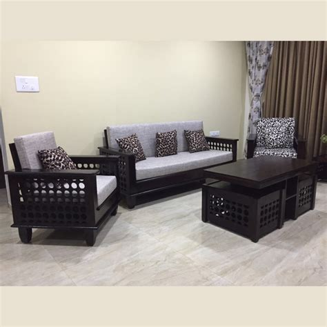Wooden Sofa Set Shopping by Wooden Sofa Set 3 1 1 Vartul Wooden Sofas