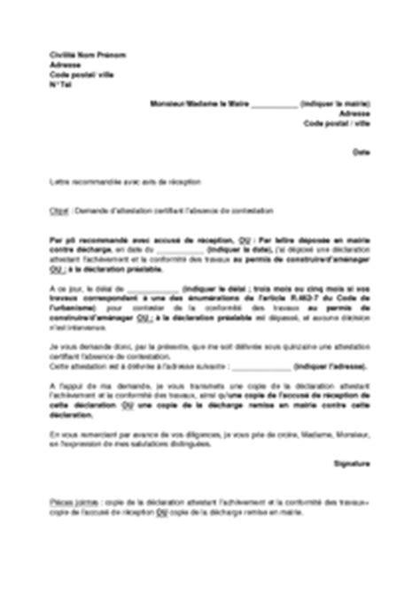 modele attestation de non sous traitance lettre de demande d attestation de non contestation de la
