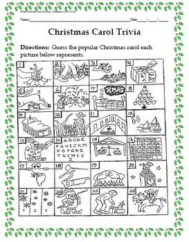 Winter Holiday Activity Pack  Guess The Christmas Carol Trivia Game