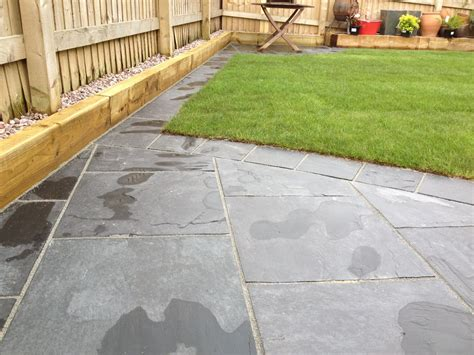 Lawn Patio by Slate Paving Patio With Lawn Widnes Cheshire
