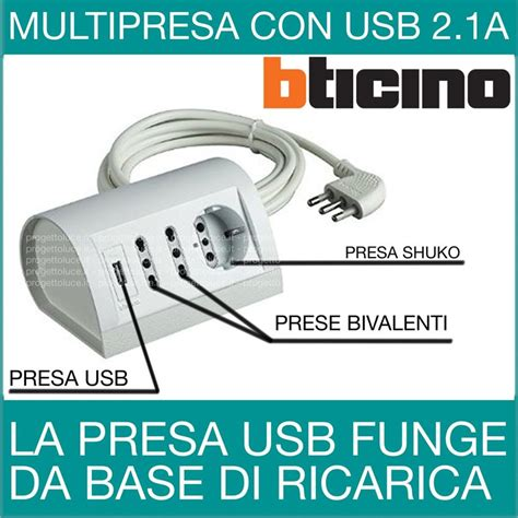 Prese Da Scrivania by Multipresa Bticino Da Scrivania Con Usb S3711du