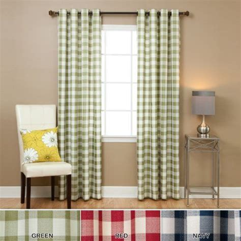 green check curtains large gingham check grommet curtain 84 quot l green oq 1353