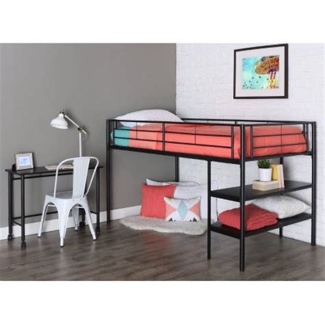 twin metal loft bed with desk twin metal loft bed with desk and shelving black