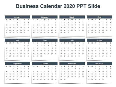 business calendar powerpoint design template sample