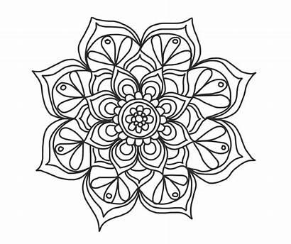 Mandala Coloring Flower Simple Pattern Mandalas Repeating