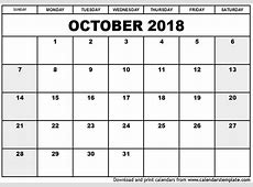 October 2018 Calendar printable calendar monthly