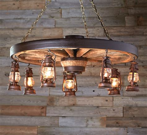 large wagon wheel chandelier with rustic lanterns
