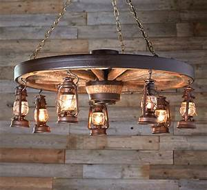 Large, Wagon, Wheel, Chandelier, With, Rustic, Lanterns
