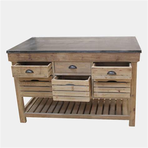 meuble cuisine en bois ilot central bois massif avec plateau en bleue