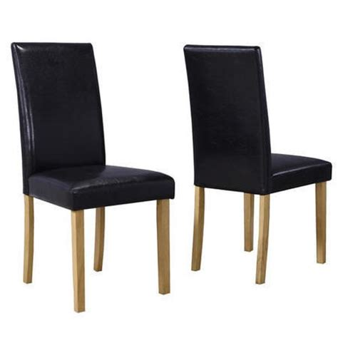new pair of dining chairs in black faux leather