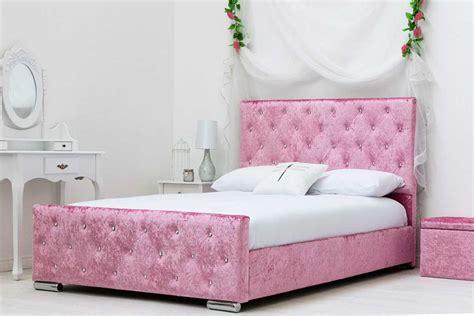 king size memory foam mattress beaumont princess diamante pink crushed fabric upholstered