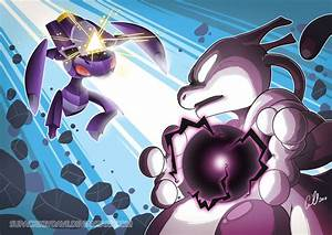 Mewtwo versus Genesect by SupaCrikeyDave on DeviantArt