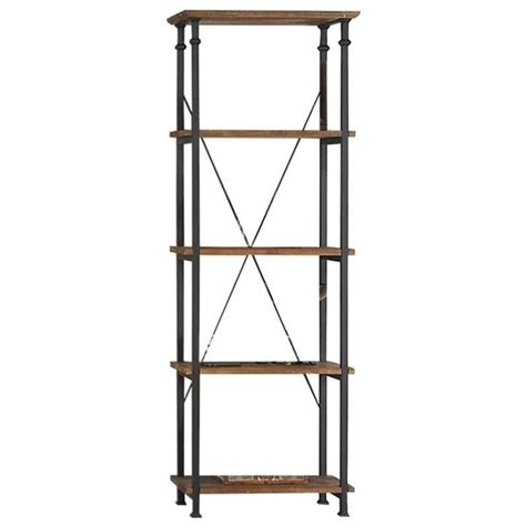 decorative stools and benches trent home factory wood and metal bookcase in rustic brown