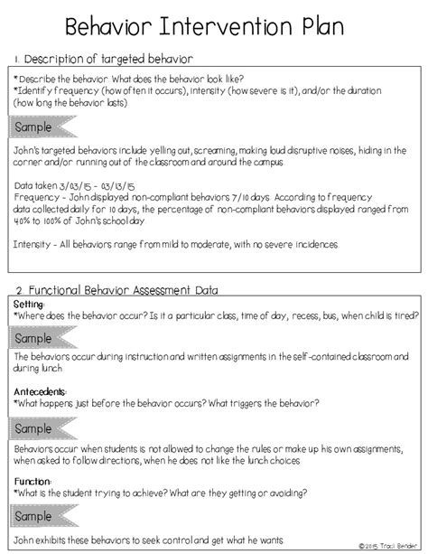 behavior intervention plan template the bender bunch creating a behavior intervention plan bip