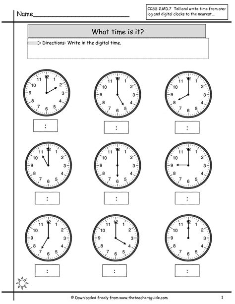 images  clock worksheets   grade math