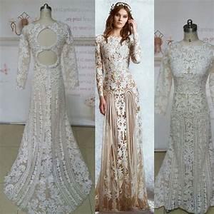 long sleeve champagne lace wedding dress wedding dress With long sleeve champagne wedding dress