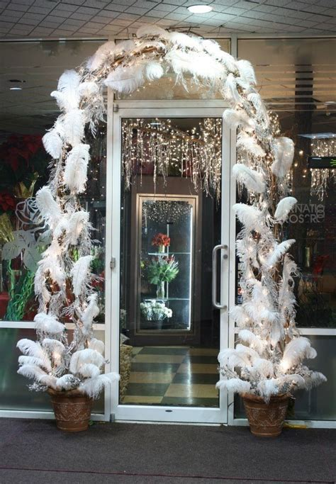 winter white feather arch christmas flowers flower shop