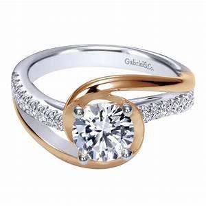 gabriel co engagement rings two tone diamond bypass 14k With engagement ring with two wedding bands