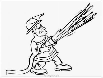 Gambar Profesi Mewarnai Pemadam Kebakaran Kartun Sketsa