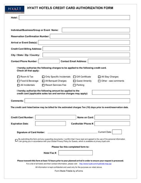 hyatt credit card authorization form  eforms