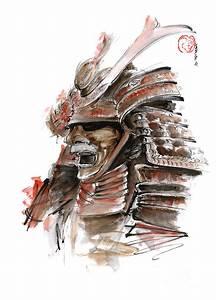 Samurai Warrior Japanese Armor Full Face Mask Painting by ...