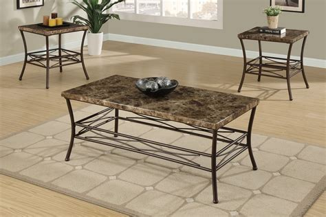 marble top coffee table set 3pc maylin marble top coffee end table set