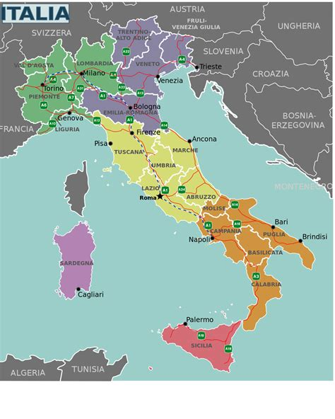 Ģeogrāfiskā karte - Itālija - 1,200 x 1,500 Pikselis - 466 ...