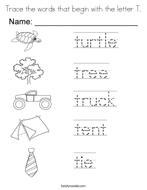 words with letter t trace the words that begin with the letter t coloring page 25759 | trace the words that begin with the letter t coloring page
