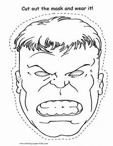 The hulk color page coloring pages for kids cartoon for Avengers mask template