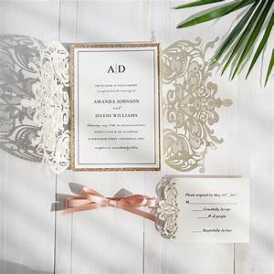 elegant laser cut wedding invitation with glitter gold With wedding invitations on glitter paper