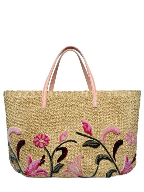Embroidered Tote Bag ermanno scervino floral embroidered raffia tote bag in