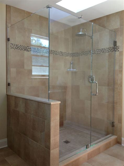 bathroom shower door ideas do we put a half wall showerman frameless shower door